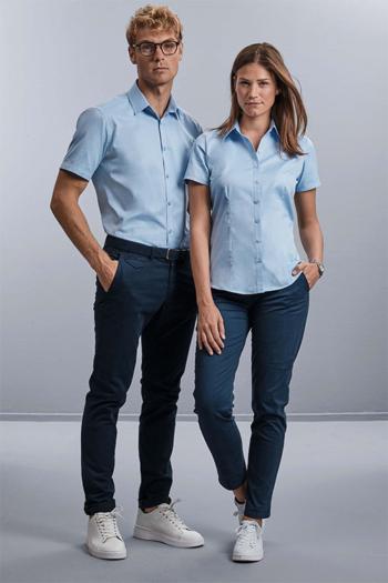 Berufsbekleidung Büro Bluse und Hemd mit kurzem Arm in hellblau Z963