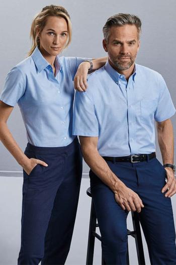 Hemden und Blusen kurzärmelige Bluse / Hemd in hellblau Z933