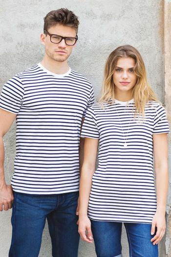 Eventbekleidung Unisex T-Shirt im Streifenlook in weiß/marine SF202