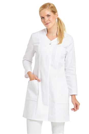 Berufsbekleidung Labor Damenmantel mit Stehkragen in weiß LB-08/2513
