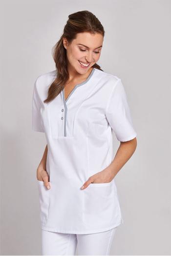 Berufsbekleidung Arztpraxis eleganter weißer Damenkasack mit grauer Paspelierung am Kragen LB-08/1335