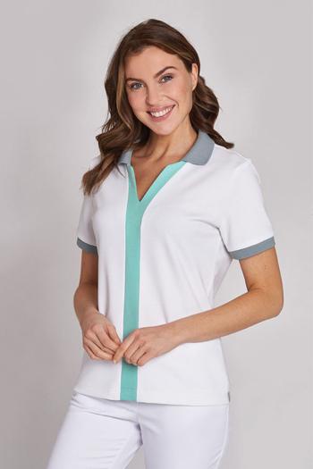 Berufsbekleidung Arztpraxis Damen Schlupfkasack in weiß mit 2-farbigen Kontrastelementen im Poloshirt Style LB-08/1330