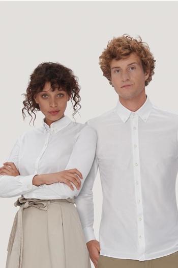 Mitarbeiterbekleidung modische, langärmelige Bluse und Hemd mit Button-Down-Kragen HAK129/130