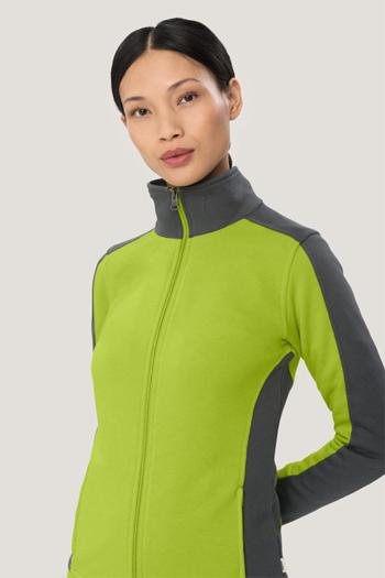 Jacken besticken Damen Kontrast-Sweatjacke in kiwi/anthrazit HAK277