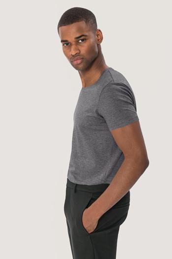 Berufsbekleidung Verkehrsbetriebe Rundhalsshirt in grau melange aus Biobaumwolle HAK271