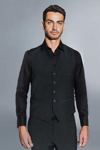 Berufsbekleidung Bestattungsinstitut schwarzer Hemd mit Weste und Hose