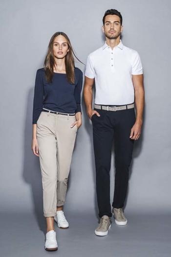 Corporate Fashion moderne Chinohsoen DH-41300/25600 mit 3/4 Damenshirt DH-70150 und Poloshirt