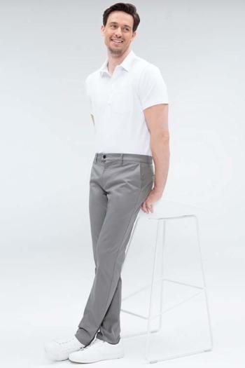 Berufsbekleidung Arztpraxis Poloshirt in weiß GR-6627 und HERREN-CHINO  in grau Gr-1320