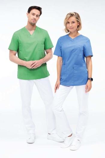 Berufsbekleidung Arztpraxis Schlupfkasacks in lindgrün GR-5005 und mittelblau GR-5105 mit weißen Hosen mit Gummibund hinten GR-5319/5321