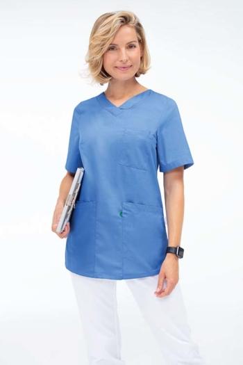 Berufsbekleidung Beauty und Wellness DAMEN-SCHLUPFKASACK GR-5105 mit V-Ausschnitt in mittelblau