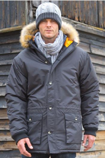 Jacken besticken langer Parka mit Fell aus recyceltem Materialien RT062