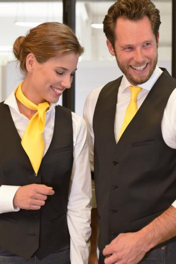 Berufsbekleidung Seiden Halstuch JBN72 und Polyester Krawatte JB405 in gelb