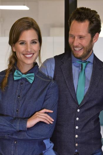 Krawatten und Halstücher schmale Polyester Krawatte JBL429 und Polyester Fliege JBS429 in mint grün