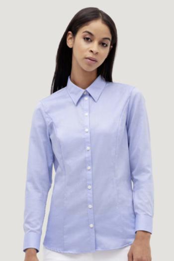 HAKRO Arbeitskleidung modische langärmelige Oxford Bluse mit Kent Kragen HAK118