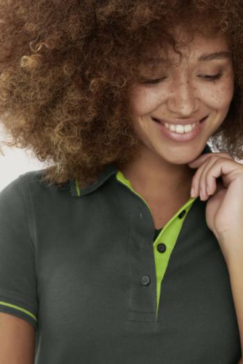 HAKRO Arbeitskleidung sportives Damen Poloshirt mit Kontraststreifen HAK203