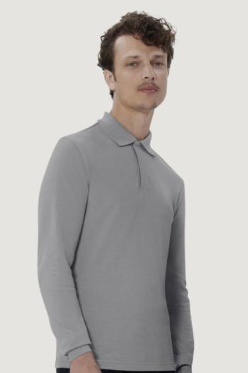 HAKRO Arbeitskleidung besonders strapazierfähiges Longsleeve Poloshirt mit verdeckter Druckknopfleiste HAK821