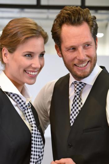 Krawatten und Halstücher karierte Servicekrawatte JBB710 und Krawatte JB710 aus Polyester in weiß/schwarz